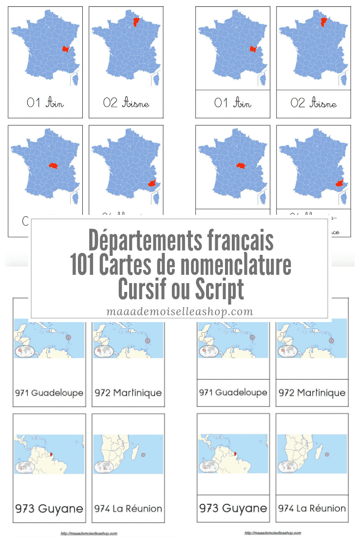 carte des 101 departements