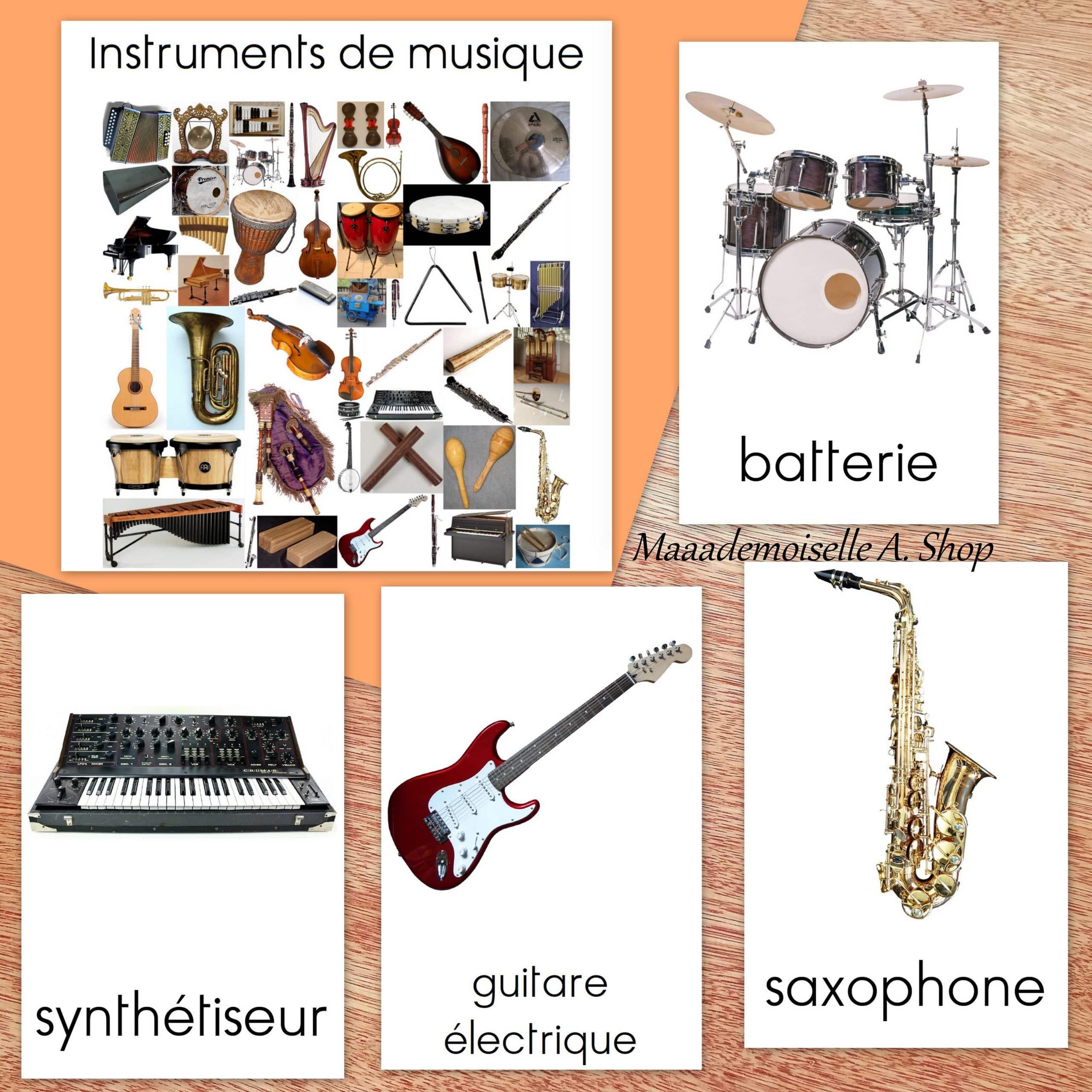 Cartes De Nomenclature Instruments De Musique 54 Cartes Pochette De Rangement Maaademoiselle A Shop