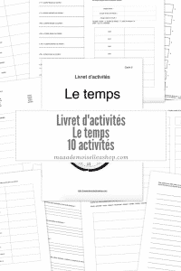 Maaademoiselle A. Shop - Livret d'activités - Le temps
