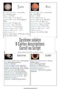 Maaademoiselle A. Shop - Cartes descriptives - Système solaire