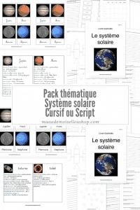 Maaademoiselle A. Shop - Pack thématique - Système solaire
