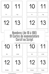 Maaademoiselle A. Shop - Nouveautés de novembre 2020 - Cartes de nomenclature Nombres (de 10 à 100)