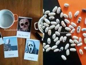 10 idées sur le thème d'Halloween (activités, jeux, recette, livres) - Fantômes avec des haricots blancs