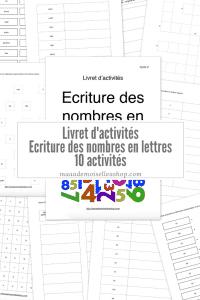 Maaademoiselle A. Shop - Nouveautés de novembre 2020 - Livret d'activités Ecriture des nombres en lettres
