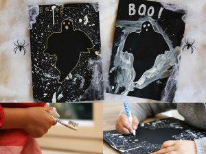 10 idées sur le thème d'Halloween (activités, jeux, recette, livres) - Silhouette de fantôme peinte à la brosse à dents