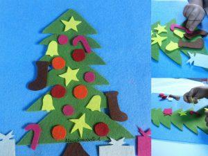 Maaademoiselle A. Shop - 10 idées sur le thème de Noël (activités, jeux, recette, livres) - Tableau en feutrine, le sapin de Noël