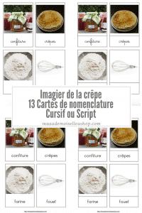 Maaademoiselle A. Shop - Nouveautés de janvier 2021 - Cartes de nomenclature Imagier de la crêpe