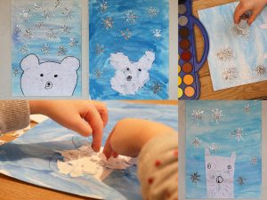 Maaademoiselle A. Shop - 10 idées sur le thème des animaux polaires (activités, jeux, livres) - Ours polaire en collage et peinture aquarelle