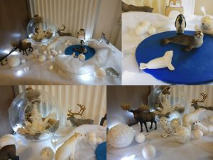 Maaademoiselle A. Shop - 10 idées sur le thème des animaux polaires (activités, jeux, livres) - Table thématique : la banquise