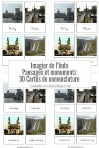 Maaademoiselle A. Shop - Nouveautés d'avril 2021 - Cartes de nomenclature - Imagier de l'Inde - Paysages et monuments