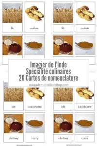 Maaademoiselle A. Shop - Nouveautés d'avril 2021 - Cartes de nomenclature - Imagier de l'Inde - Spécialités culinaires
